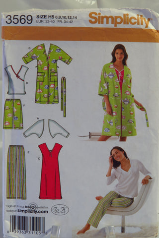 Simplicity 3569 Misses' Nightgown or Top, Pants or Shorts, Robe and Knit Shrug - H5 (6-8-10-12-14) - Smiths Depot Sewing Pattern Superstore