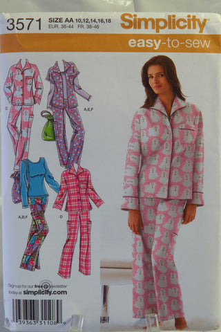 Simplicity 3571 Misses' and Women's Pajamas, Pajama Bag and Knit Top - AA (10-12-14-16-18) - Smiths Depot Sewing Pattern Superstore  - 1