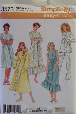 Simplicity 3573 Misses' Nightgown in Two Lengths, Pajamas and Robe - AA (XS-S-M) - Smiths Depot Sewing Pattern Superstore  - 1