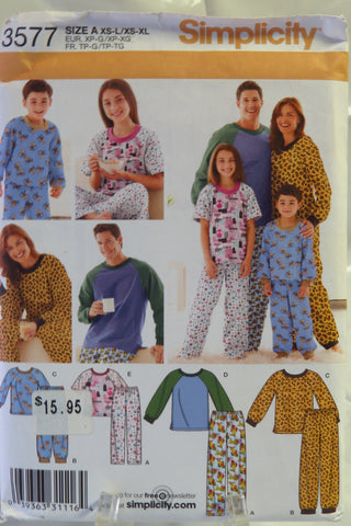 Simplicity 3577 Unisex Child's, Teens' and Adults' Top and Pants - A (XS-L/XS-L) - Smiths Depot Sewing Pattern Superstore