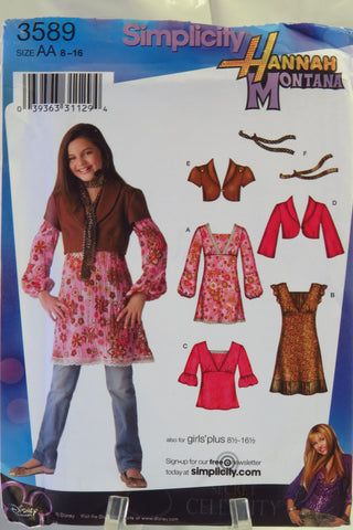 Simplicity 3589 Girls' and Girls' Plus Dress, Mini-Dress or Tunic and Top, Jacket with Sleeve Variations and Scarf - AA (8-10-12-14-16) - Smiths Depot Sewing Pattern Superstore