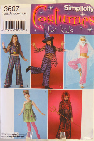 Simplicity 3607 Girls Costumes - A (7-8-10-12-14) - Smiths Depot Sewing Pattern Superstore