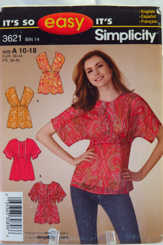 Simplicity 3621 Misses' Tops - A (10-12-14-16-18) - Smiths Depot Sewing Pattern Superstore