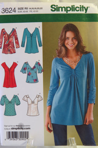 Simplicity 3624 Misses' Knit and Woven Tops - R5 (14-16-18-20-22) - Smiths Depot Sewing Pattern Superstore