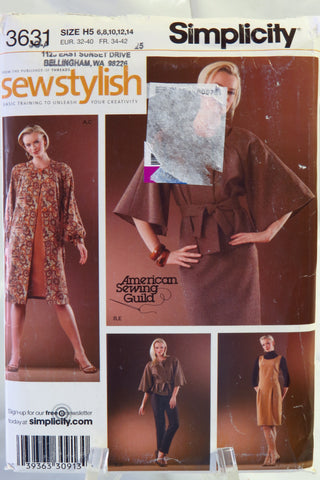 Simplicity 3631 Misses' and Miss Petite Coat or Jacket, Dress or Jumper, Slim Pants and Skirt - H5 (6-8-10-12-14) - Smiths Depot Sewing Pattern Superstore  - 1