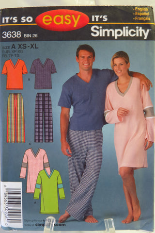 Simplicity 3638 Misses', Men's, or Teens' Pants and Knit Nightshirt or Top - A (XS-XL) - Smiths Depot Sewing Pattern Superstore