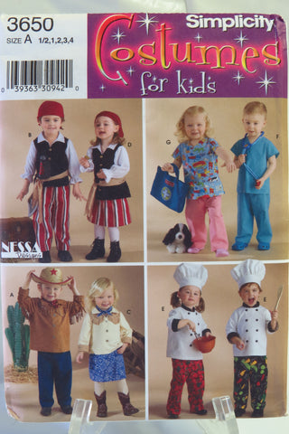 Simplicity 3650 Toddlers' Costumes - A (1/2-1-2-3-4) - Smiths Depot Sewing Pattern Superstore
