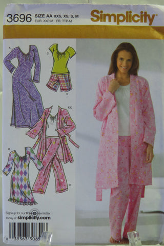 Simplicity 3696 Misses' Pants or Shorts, Robe and Knit Nightgown in Two Lengths or Top - AA (XXS-XS-S-M) - Smiths Depot Sewing Pattern Superstore  - 2