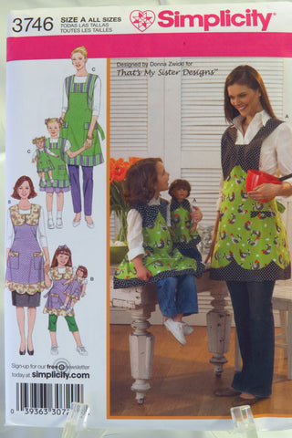 "Simplicity 3746 Child's, Misses' and 18"" Doll Aprons -  - Smiths Depot Sewing Pattern Superstore"