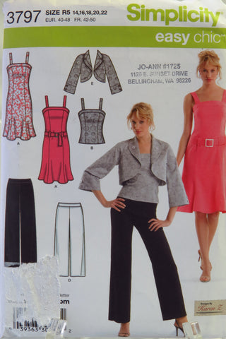 Simplicity 3797 Misses'/Miss Petite Dress or Top, Pants in Two Lengths and Jacket - R5 (14-16-18-20-22) - Smiths Depot Sewing Pattern Superstore