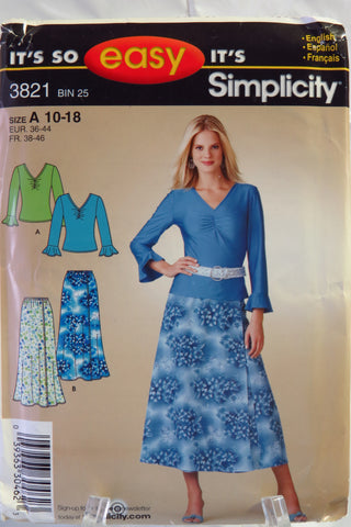 Simplicity 3821 Misses' Skirt and Knit Top - A (10-12-14-16-18) - Smiths Depot Sewing Pattern Superstore