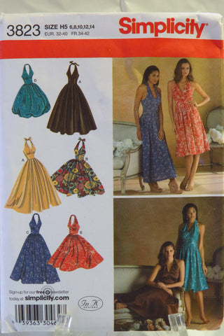 Simplicity 3823 Misses' Dress with Skirt and Length Variations - H5 (6-8-10-12-14) - Smiths Depot Sewing Pattern Superstore