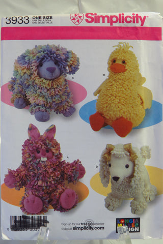 Simplicity 3933 Loopy Animals -  - Smiths Depot Sewing Pattern Superstore
