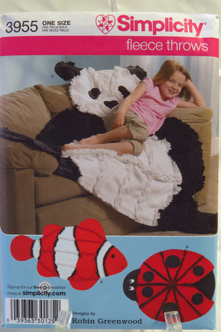 Simplicity 3955 Fleece Throws -  - Smiths Depot Sewing Pattern Superstore