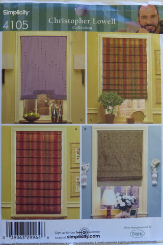 Simplicity 4105 Window Treatment Shades -  - Smiths Depot Sewing Pattern Superstore