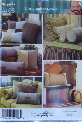 Simplicity 4108 Decorative Bolsters and Pillows -  - Smiths Depot Sewing Pattern Superstore