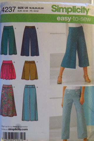 Simplicity 4237 Misses Knit Skirt In Two Lengths And Cropped Wide