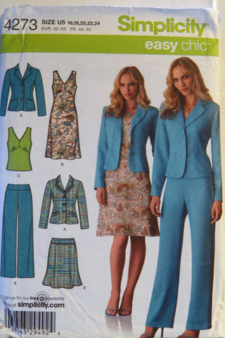 Simplicity 4273 Misses'/Miss Petite  Jacket, Pants, Skirt and Dress or Top - U5 (16-18-20-22-24) - Smiths Depot Sewing Pattern Superstore