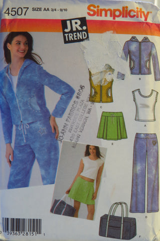 Simplicity 4507 Juniors' Knit Top, Jacket or Vest, Pants, Skirt and Tote Bag - AA (3/4-9/10) - Smiths Depot Sewing Pattern Superstore