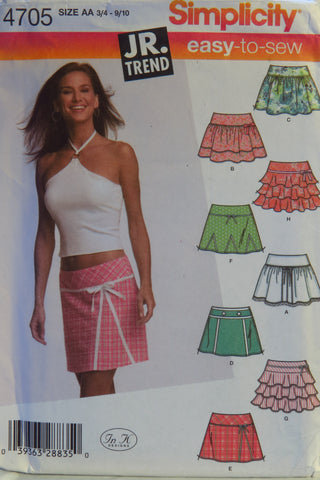 Simplicity 4705 Juniors Mini Skirts with Trim Variations - AA (3/4-9/10) - Smiths Depot Sewing Pattern Superstore