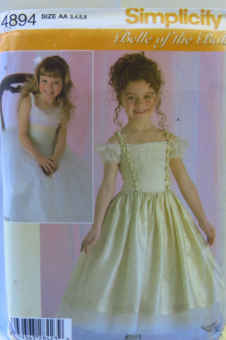 Simplicity 4894 Child's Special Occasion Dress - AA (3-4-5-6) - Smiths Depot Sewing Pattern Superstore