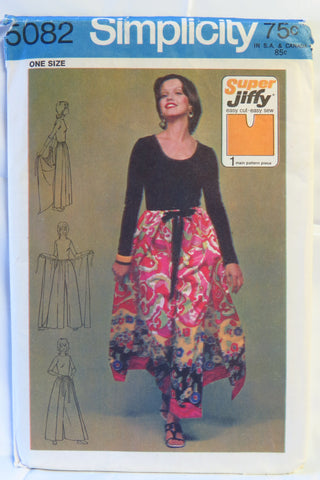 Simplicity 5082 Super Jiffy Wrap and Tie Pantskirt - ONE SIZE - Smiths Depot Sewing Pattern Superstore