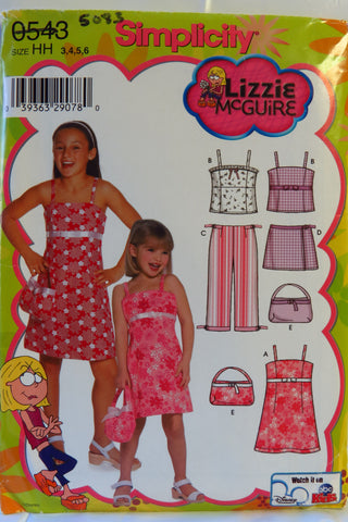 Simplicity 0543 Child's and Girls' Dress or Top, Cropped Pants, Skort and Purse - HH (3-4-5-6) - Smiths Depot Sewing Pattern Superstore