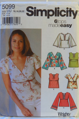 Simplicity 5099 Misses' Pullover Tops - UU (16-18-20-22) - Smiths Depot Sewing Pattern Superstore