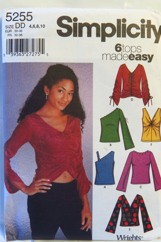 Simplicity 5255 Misses' Knit Tops - DD (4-6-8-10) - Smiths Depot Sewing Pattern Superstore