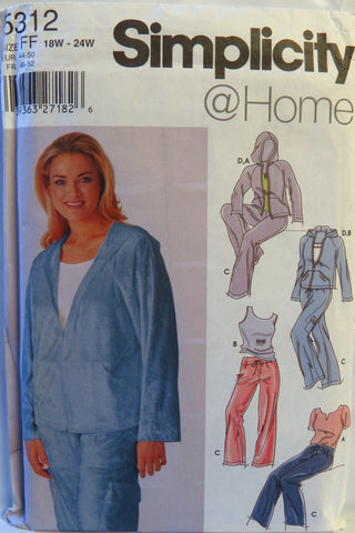 Simplicity 5312 Women's Pants, Jacket and Knit Top - FF (18W-20W-22W-24W) - Smiths Depot Sewing Pattern Superstore