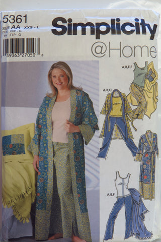 Simplicity 5361 Misses' and Women's Robe in Two Lengths, Pants, Knit Tank Top, Blanket and Pillow Cover - AA (XXS-L) - Smiths Depot Sewing Pattern Superstore  - 1