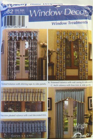 Simplicity 5582 Window Treatments -  - Smiths Depot Sewing Pattern Superstore