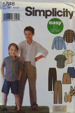 Simplicity 5648 Boys' Pants or Shorts, Shirt and Vest - HH (3-4-5-6) - Smiths Depot Sewing Pattern Superstore