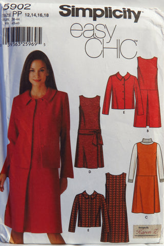Simplicity 5902 Misses' and Miss Petite Dress or Jumper with Skirt Variations and Jacket - PP (12-14-16-18) - Smiths Depot Sewing Pattern Superstore  - 1