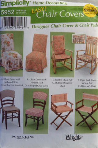 Simplicity 5952 Chair Covers -  - Smiths Depot Sewing Pattern Superstore