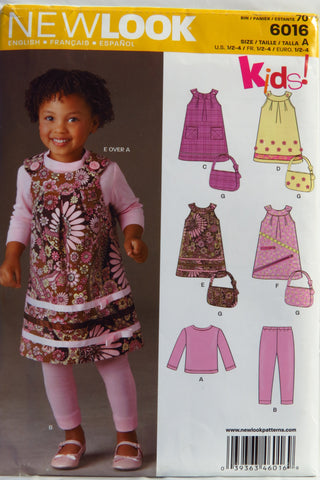 New Look 6016 Toddlers' Dress, Top, Pants and Bag - A (1/2-1-2-3-4) - Smiths Depot Sewing Pattern Superstore