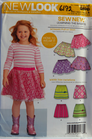 New Look 0176 Girls Skirt with Trim Variations. - A (3-4-5-6-7-8) - Smiths Depot Sewing Pattern Superstore