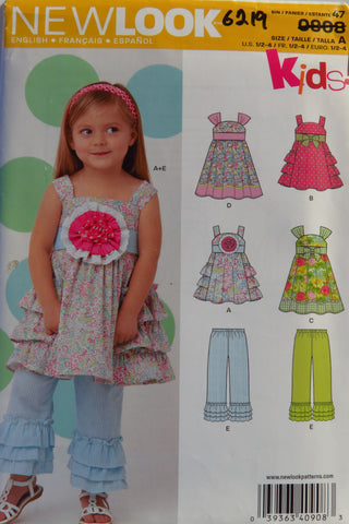 New Look 0908 Toddlers' Dress and Pants - A (1/2-1-2-3-4) - Smiths Depot Sewing Pattern Superstore