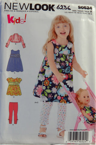 New look 0524 Toddlers' Dress, Top, Leggings and Bolero - A (1/2-1-2-3-4) - Smiths Depot Sewing Pattern Superstore