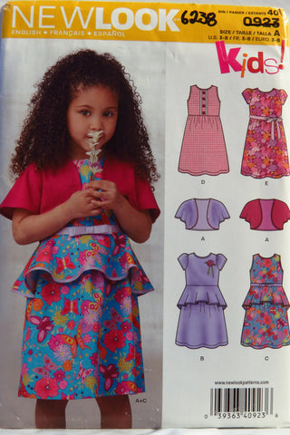 New Look 0923 Girls' Dress and Bolero - A (3-4-5-6-7-8) - Smiths Depot Sewing Pattern Superstore