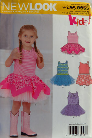 New Look 0955 Toddlers' Dress with Knit Bodice - A (1/2-1-2-3-4) - Smiths Depot Sewing Pattern Superstore