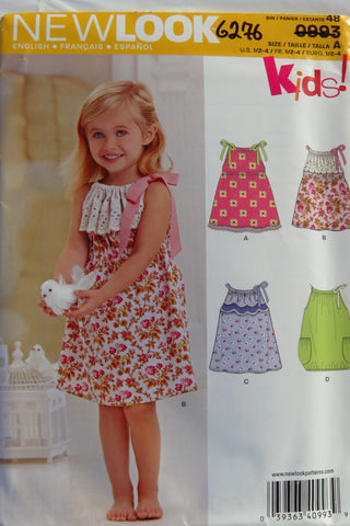 New Look 0993 Toddlers' Dresses with Trim Variations - A (1/2-1-2-3-4) - Smiths Depot Sewing Pattern Superstore