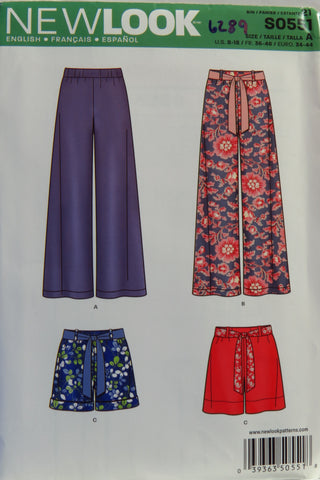 New look 0551 Misses' Pull-On Pants or Shorts and Tie Belt - A (8-10-12-14-16-18) - Smiths Depot Sewing Pattern Superstore