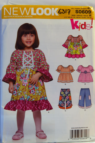 New Look 0609 Toddlers' Five in One Dress and Pants - A (1/2-1-2-3-4) - Smiths Depot Sewing Pattern Superstore