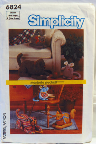 Simplicity 6824 Soft Sculptured Animals -  - Smiths Depot Sewing Pattern Superstore