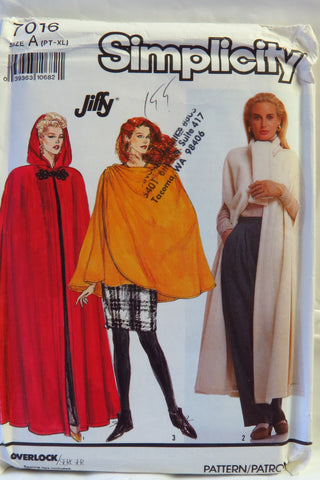 Simplicity 7016 Misses'/Miss Petite Unlined Cape in Two Lengths and Wrap Cape -  - Smiths Depot Sewing Pattern Superstore