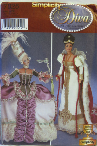 "Simplicity 7025 Costumes for 11½"" Fashion Doll -  - Smiths Depot Sewing Pattern Superstore"