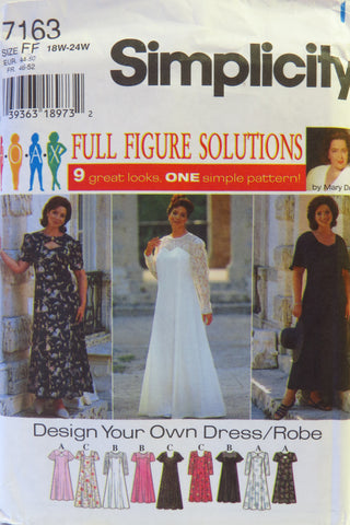 Simplicity 7163 Women's Dress - FF (18W-20W-22W-24W) - Smiths Depot Sewing Pattern Superstore