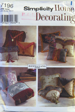 Simplicity 7196 Decorator Pillows -  - Smiths Depot Sewing Pattern Superstore