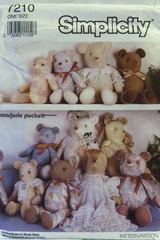 Simplicity 7210 Stuffed Bears -  - Smiths Depot Sewing Pattern Superstore